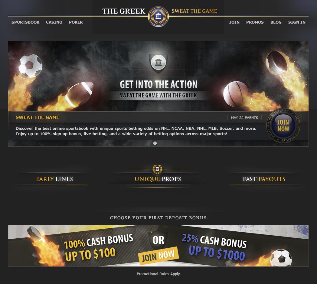Официальный сайт букмекерской конторы The Greek