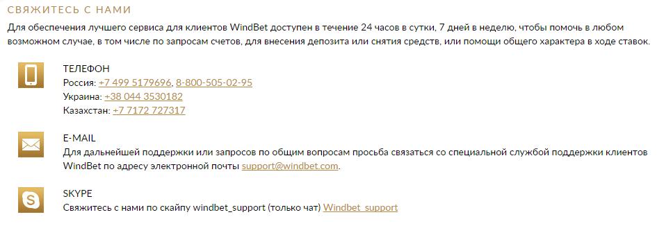 Как связаться со службой поддержки букмекерской конторы Windbet