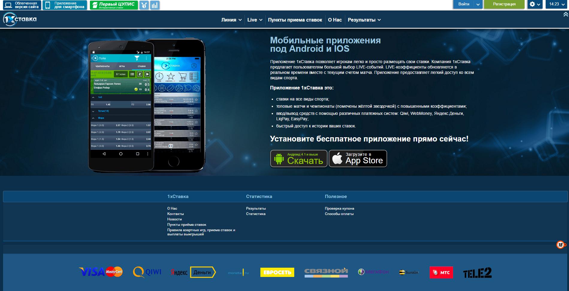 Мобильная версия букмекерской конторы 1хСтавка